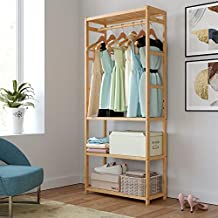 Homfa Bamboo Garment Rack, Multipurpose Clothing Stand Heavy Duty Coat Hanging Rack with 3 Tier Storage Shelves for Clothing Shoes Freestanding Display Organzer 27.4x11.4x64.2 inches Laundry Room