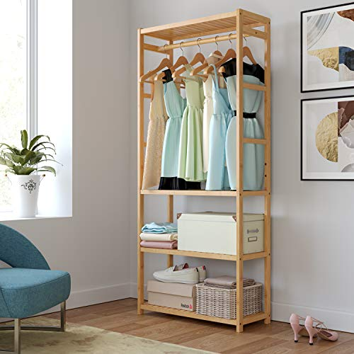 Homfa Bamboo Garment Rack, Multipurpose Clothing Stand Heavy Duty Coat Hanging Rack with 3 Tier Storage Shelves for Clothing Shoes Freestanding Display Organizer 27.4x11.4x64.2 Inch, Laundry Room