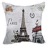 LoooL Retro Vintage Throw Pillow Cover Cushion Case, Paris Eiffel Tower