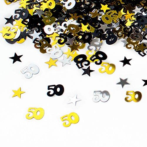 Oblique-Unique® 50. Geburtstag Jubiläum Konfetti Gold Silber Schwarz Sterne Tisch- Konfetti mit Spiegeleffekt - über 500 Stück