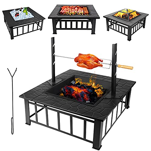 Outdoor Fire Pits for Garden with Uprights Rotisserie, Square Firebowls with BBQ Grill, 3 in 1 Fire Pit Table / Heaters / Ice Pit for Patio Camping Bonfire, with Mesh Cover Grill Charcoal Nets Poker