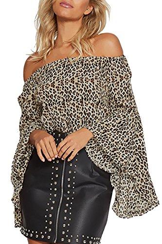 YOINS Sexy Oberteil Damen Schulterfrei Schulter Tshirt Kurzarm Langarm Pullover Sexy Leopard Frühling und Sommer T-Shirt Tops Oberteile Blusen Leopard XS