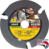 Hardmetal GRAFF® Speedcutter Disco de Corte Amoladora Madera 115mm / 125mm, TCT Hoja de Sierra Circular para Madera 3 Dientes (115 mm)