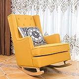 XINGPING Rocking Chair en Bois Massif Américain Simple Moderne Paresseux Canapé Inclinable Adulte Loisirs Salon Balcon Fauteuil (Couleur : Le Jaune)