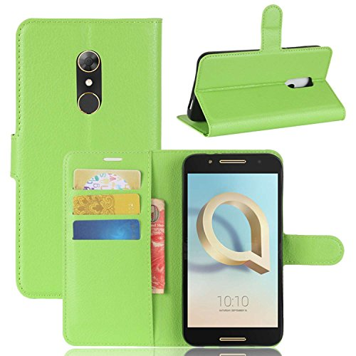 Tasche für Alcatel A7 Hülle, Ycloud PU Kunstleder Ledertasche Flip Cover Wallet Case Handyhülle mit Stand Function Credit Card Slots Bookstyle Purse Design grün