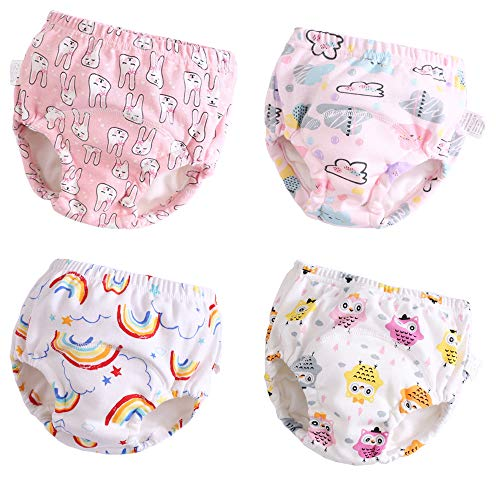 Toddler Potty Training Pants 4 Pack,Cotton Training Underwear Size 2T,3T,4T,Waterproof Underwear for Girls Pink M