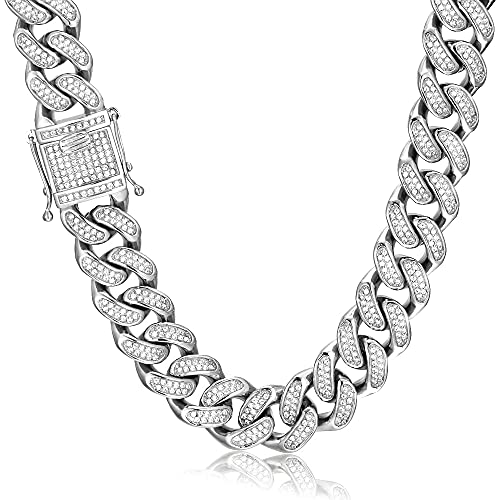 GOLD IDEA JEWELRY 20mm Hip Hop Stainless Steel VVS Lab Diamonds Iced Out Miami Cuban Link Chain (20)