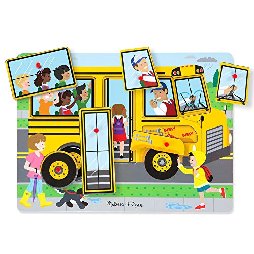 Melissa & Doug The Wheels on the Bus Sound Puzzle | Puzzles | Wood | 2+ | Gift for Boy or Girl
