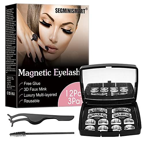 Faux Cils, Faux Cils Magnétique, 3D Faux cils, Magnétique Eyelash Kit, Kit de Cils Magnétiques pour Extension de Cils de Maquillage, Réutilisables et Pincettes, Imperméable et sans Colle Requise