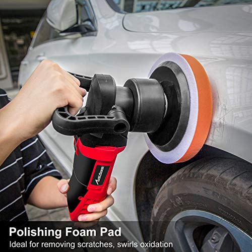 Avid Power Polisher, 6-inch Dual Action Random Orbital Car Buffer Polisher Waxer with Variable Speed, 3 Foam Pads for Car Polishing and Waxing, AEP127