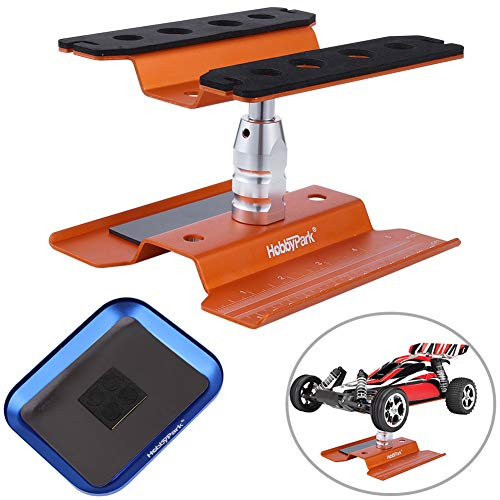 Hobbypark Aluminum RC Car Work Stand Repair Workstation 360 Degree Rotation Lift Or Lower w/ Screw Tray for 1/10 1/12 1/16 Scale Cars Trucks Buggies