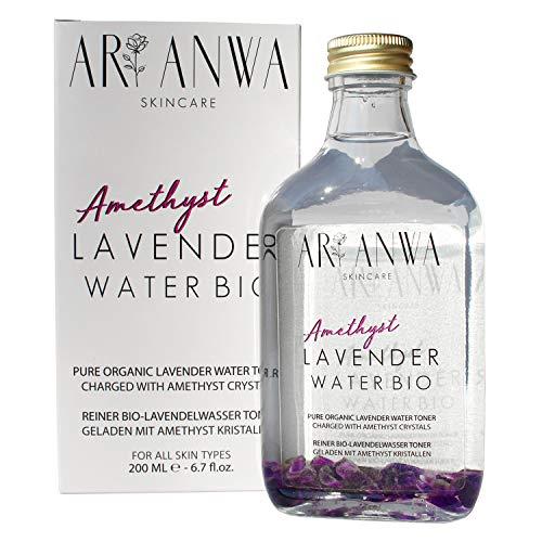 ARI ANWA Skincare ® Bio Lavendelwasser mit echten Amethyst Kristallen - Gesichtswasser vegan und natürlich in Glasflasche. Gegen Akne, Rötungen & Hautirritationen. Besonders Beruhigend