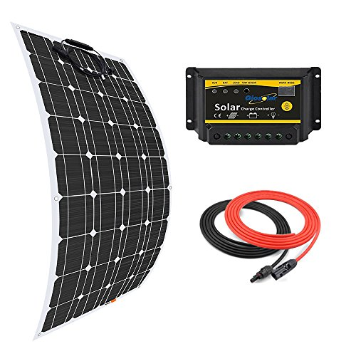 Giosolar pannello solare 100W flessibile kit pannello solare monocristallino + 20A 12V/24V LED controller + 5m cavo solare per barche camper roulotte off-grid sistemi