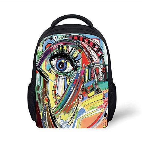 Kids School Backpack Abstract,Abstract Digital Doodle of a Drawing with Sketch with Rich Colors Symbolic Picture,Multicolor Plain Bookbag Travel Daypack