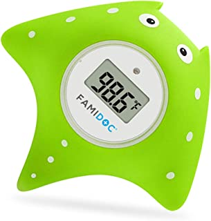 Baby Bath Thermometer with Room Thermometer - Famidoc FDTH-V0-22 NEW Upgraded Sensor Technology for Baby Health Bath Tub Thermometer Floating Toy Thermometer (Green)