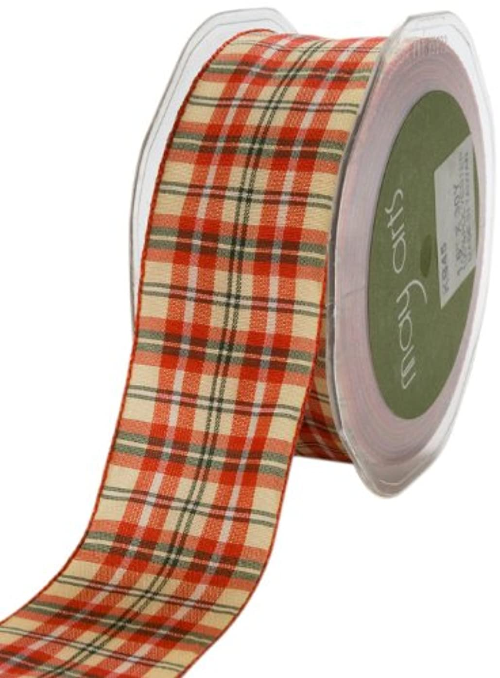 May Arts 1-1/2-Inch Wide Ribbon, Red and Green Plaid