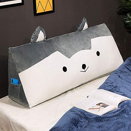HOUMEL Cojín triángulo grande de lectura, diseño de animal, para cama, respaldo, cojín lumbar para regalo, dormitorio, salón 287 (color: blanco, tamaño: 80 cm)