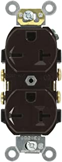 Leviton 5822 20-Amp, 250-Volt, Narrow Body Duplex Receptacle, Straight Blade, Commercial Grade, Self Grounding, Brown
