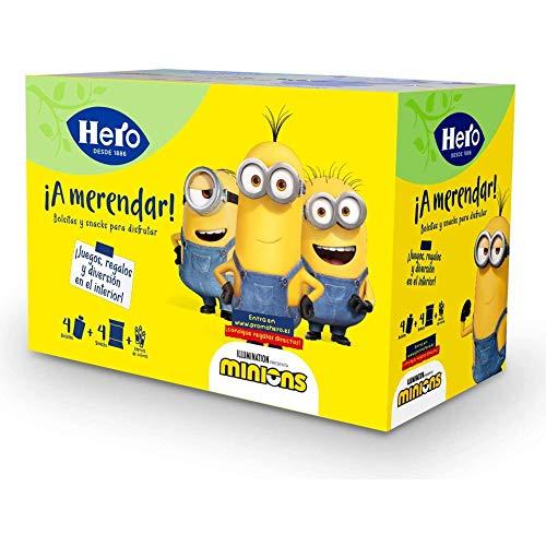 Hero Baby - Pack Merienda Minions, Incluye 4 Bolsitas, 4 Snacks, Juegos y Coloreables - 605 g
