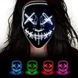 LED Light Up Halloween Mask - CHAOYU Popular White Purge Mask Cool Face Costume Scary Glow Mask Glowing in the Dark with Four Modes for Adults Kids at Party