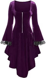 Kiminana Women's Zip Lace Panel Halloween Long Sleeve Dress Robe Plus Size Patchwork Zipper Mini Dress Renaissance Costumes