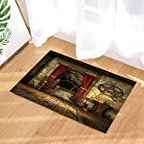 dsgrdhrty Abstrait Vintage Brun Plancher de selles Mur Blanc Beau Rideau Rouge Tapis de Bain Portable Dessin animé HD