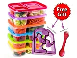 Bento Lunch Box 3 Compartment Food Containers – Set of 6 Storage Meal