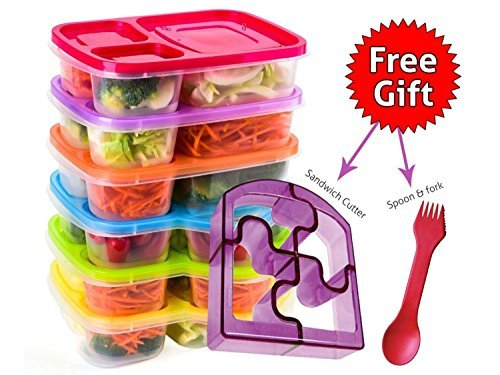 Bento Lunch Box 3 Compartment Food Containers – Set of 6 Storage meal prep–for Adults, Toddler, Kids, Girls, and Boys – Free 2-in-1 Fork/Spoon & Puzzle Sandwich Cutter -Not recommended for liquid