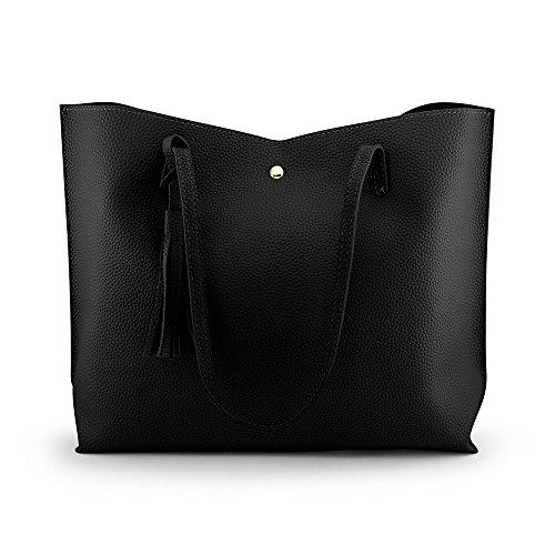 OCT17 Women Tote Bag - Tassels Faux Leather Shoulder Handbags, Fashion Ladies Purses Satchel Messenger Bags - Black
