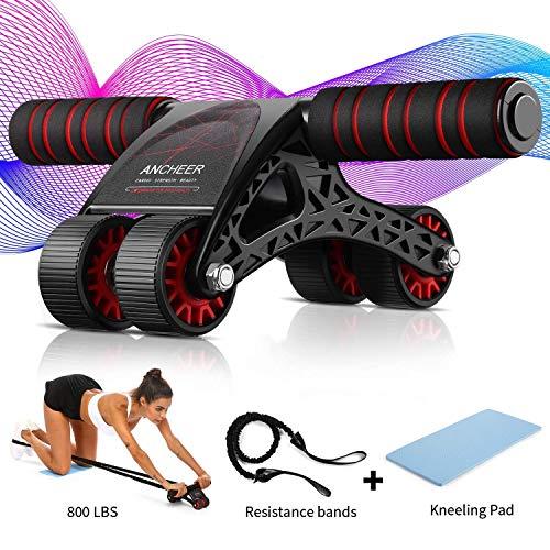 ANCHEER Ab Roller Fitness Ruota Addominali per Esercizi con Ginocchiera e Corda per Il Fitness, Attrezzatura per Il Fitness Ideale per Uomo/Ddonna a Casa