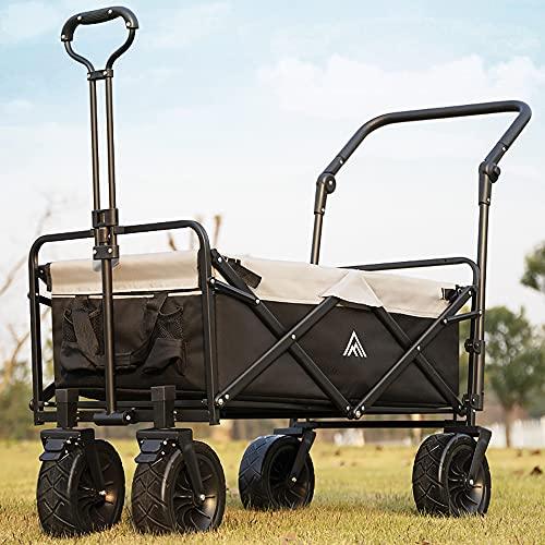 Wagon pliant utilitaire tout terrain à roues larges, chariot de jardin pliable, chariot de plage robuste avec poignée de poussée et frein réglables, stockage de 90 L, charge de 170 lb