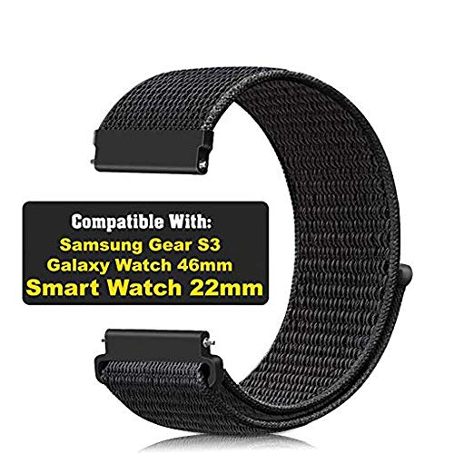 CellFAther Samsung Galaxy Watch 46mm Nylon Sport Loop Band Straps for Samsung Gear S3 22mm (Jet Black) (Watch Not Included)