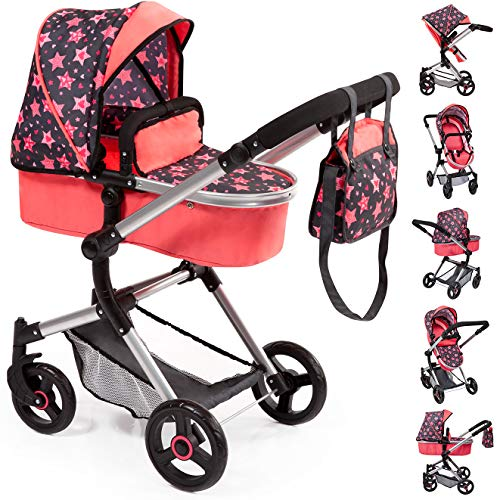 Bayer Design 18405AA Stroller, Doll Combi Pram Neo Vario with Changing Bag and Underneath Shopping Basket, Foldable, Swivel Front Wheels, Coral Red with Stars and Hearts