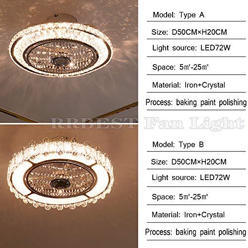 Cristallo Ventilatori Da Soffitto Con Lampada 72W LED Fan Plafoniera Invisibile 3 Velocità Con Telecomando Dimmerabile Decorazione D'interni Illuminazione Camera Da Letto Ristorante Fan Lampadario (A)