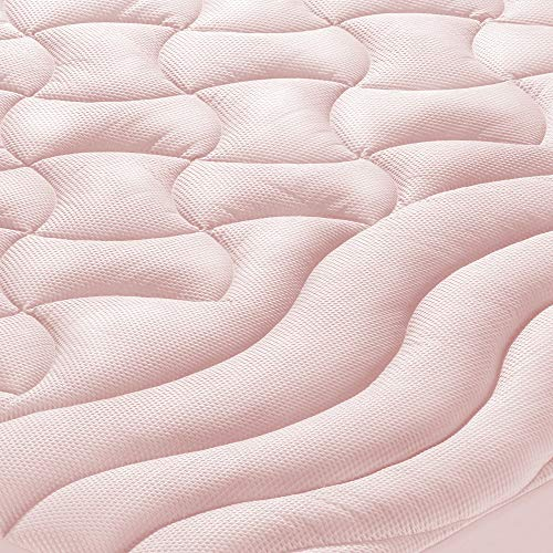 SLEEP ZONE Athlete-Grade Mattress Pad Cover Cooling Overfilled Soft Fluffy Ergonomic Topper Zone Design Upto 21 inch Deep Pocket with Wide Elastic Skirt, Light Pink, Full