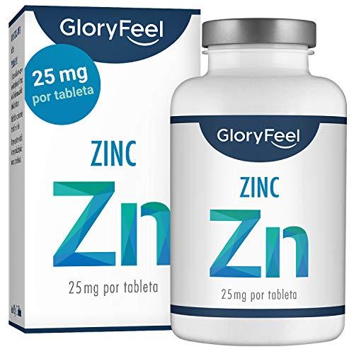GloryFeel Zinc 25mg 400 Tabletas - Alta dosificación y vegano - 25 mg de Zinc elemental procedente de gluconato de zinc puro para 1 año - Probado en laboratorio sin aditivos - Hecho en Alemania