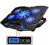 TopMate Basi Di Raffreddamento Per pc Portatili, Raffreddamento Notebook | 10'-15,6' Pollici | 5 x Ventilatore | 2 x USB | LED Blu | Nero