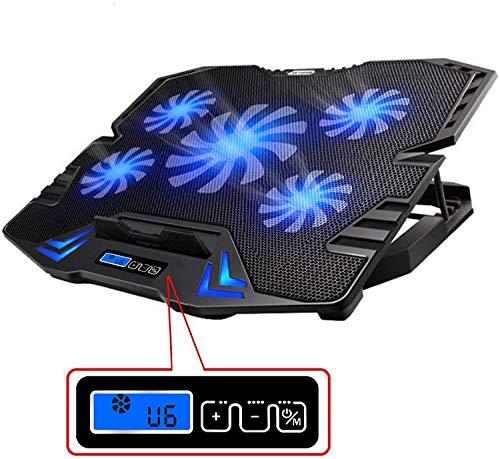 TopMate C5 12-15.6 Pulgadas Gaming Laptop Cooler Cooling Pad | 5 Ventiladores silenciosos y Pantalla LCD | Viento Fuerte de 2400 RPM diseñado para Jugadores y oficinas