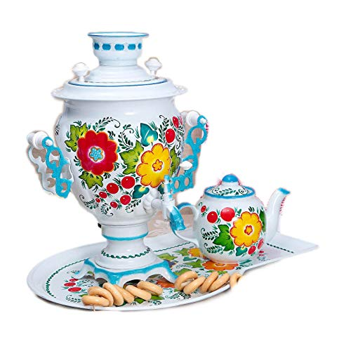 """Electric Samovar White Set """"Flowers"""" Traditional Russian Tea Maker with Tray"""