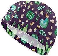 水泳帽 女性/男性用スイムキャップ、防水ヘアスイムキャップスペシャルプリント大人快適フィット水泳キャップ水彩サボテン植物用