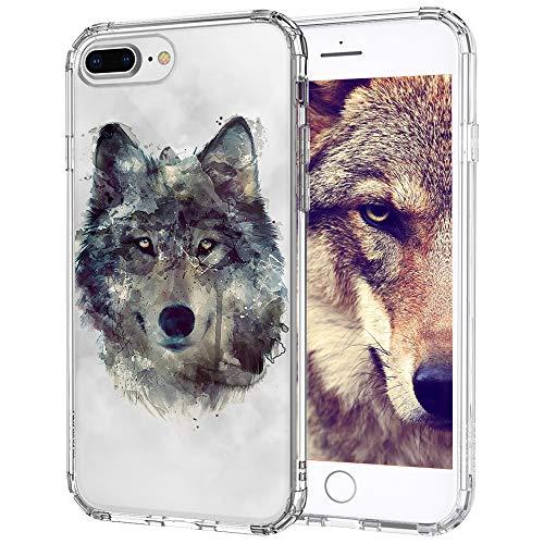 MOSNOVO Cover iPhone 7 Plus, Cover iPhone 8 Plus, Lupa Trasparente con Disegni TPU Bumper con Protettiva Custodia Posteriore per iPhone 7 Plus/iPhone 8 Plus (Wolf)