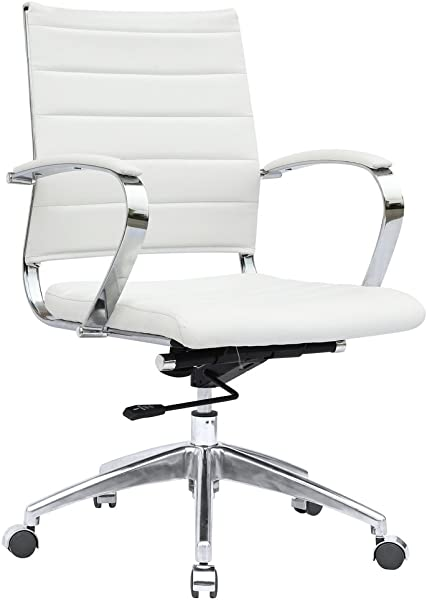 Modern Contemporary Office Chair White Leather