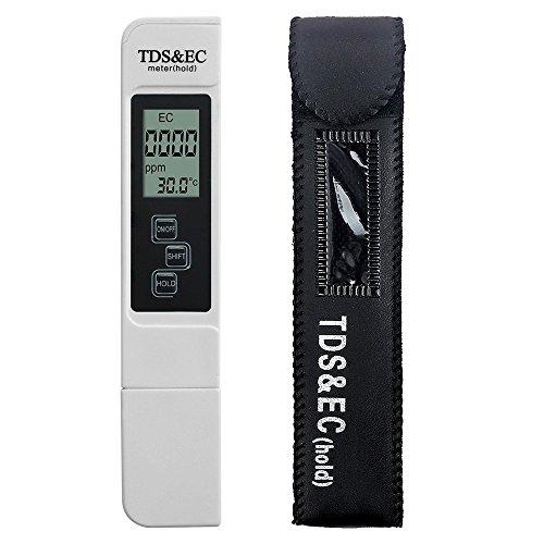 AUTOUTLET Medidor digital portátil TDS y EC probador Medidor de calidad del agua Pluma del filtro 0-9990 μs / cm PPM TEMP Medidor de temperatura de pureza del agua Tester 0.1-80.0 ℃