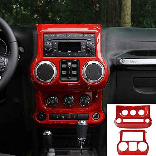 JeCar Center Console Panel & Air Conditioning Switch Panel Trim Cover ABS Interior Trim Kit for 2011-2018 Jeep Wrangler JK JKU, Red