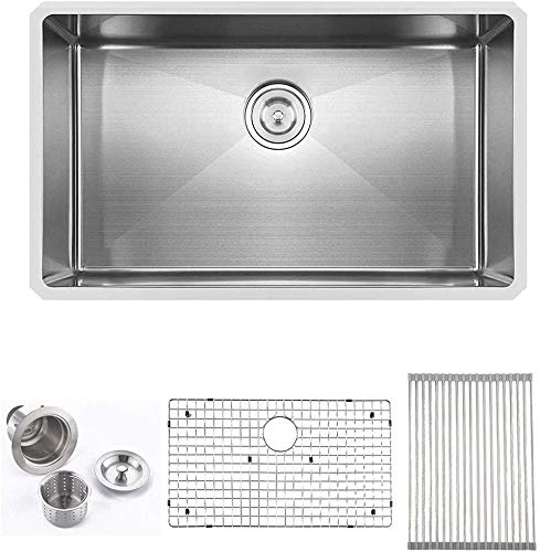 Comllen Best Quality 30 Inch 16 Gauge 10 Inch Deep Handmade Single Bowl Undermount Stainless Steel Kitchen Sink, Including Dish Drying Rack and Dish Grid and Kitchen Sink Strainer((30''x18''x10''))