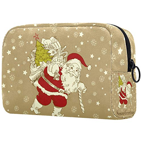 Toiletry Bags Lovely Small Makeup Bag for Purse Travel Makeup Pouch Mini Cosmetic Bag for Women Girls Snowflake christmas 7.3x3x5.1in