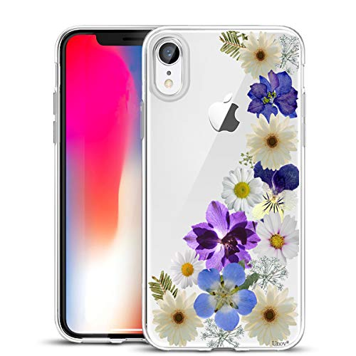 Unov Case Clear with Design Slim Protective Soft TPU Bumper Embossed Floral Pattern [Support Wireless Charging] Cover for iPhone XR 6.1 Inch(Flower Blossom)