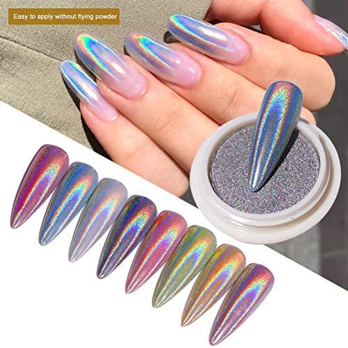 ARTOCT Nail Glitter Dust Unicorn Neon Holo Silver Sparkly Chrome Pigment Nail Art Sequins Fashion DIY Powder