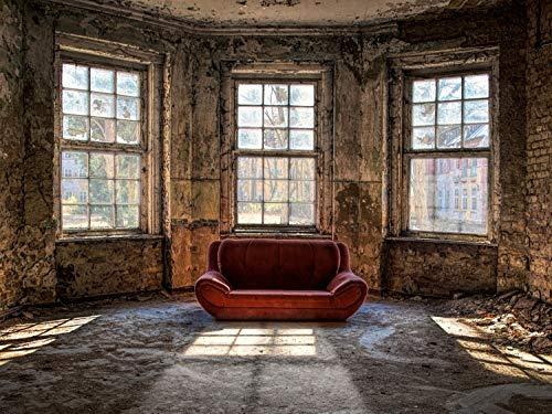 Vlies behang poster XXL fotobehang 3D Lost Place Halle Saal 200 x 100 cm selbstklebend Kleur: