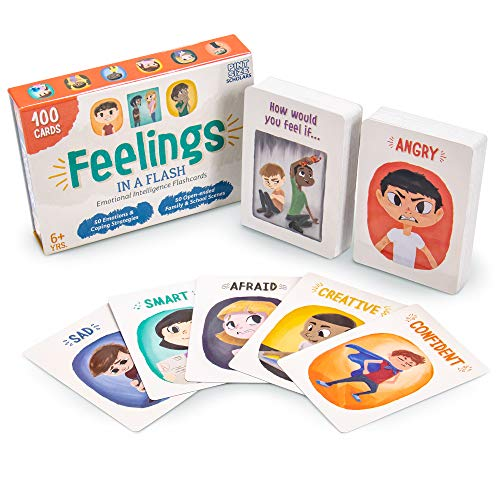 Brybelly Feelings in a Flash - Emotional Intelligence Flashcard Game - Toddlers & Special Needs Children - Teaching Empathy Activities, Coping & Social Skills - 50 Scenario Cards, 50 Reaction Faces